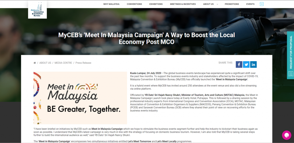 Let's Meet in Malaysia Campaign Launch: BE Greater, Together
